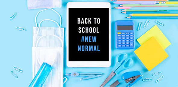 BAck to School - The New Normal - tablet computer and office supplies
