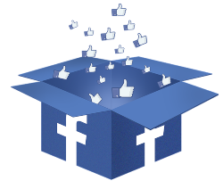 """Facebook box with """"likes"""" floating out of it"""