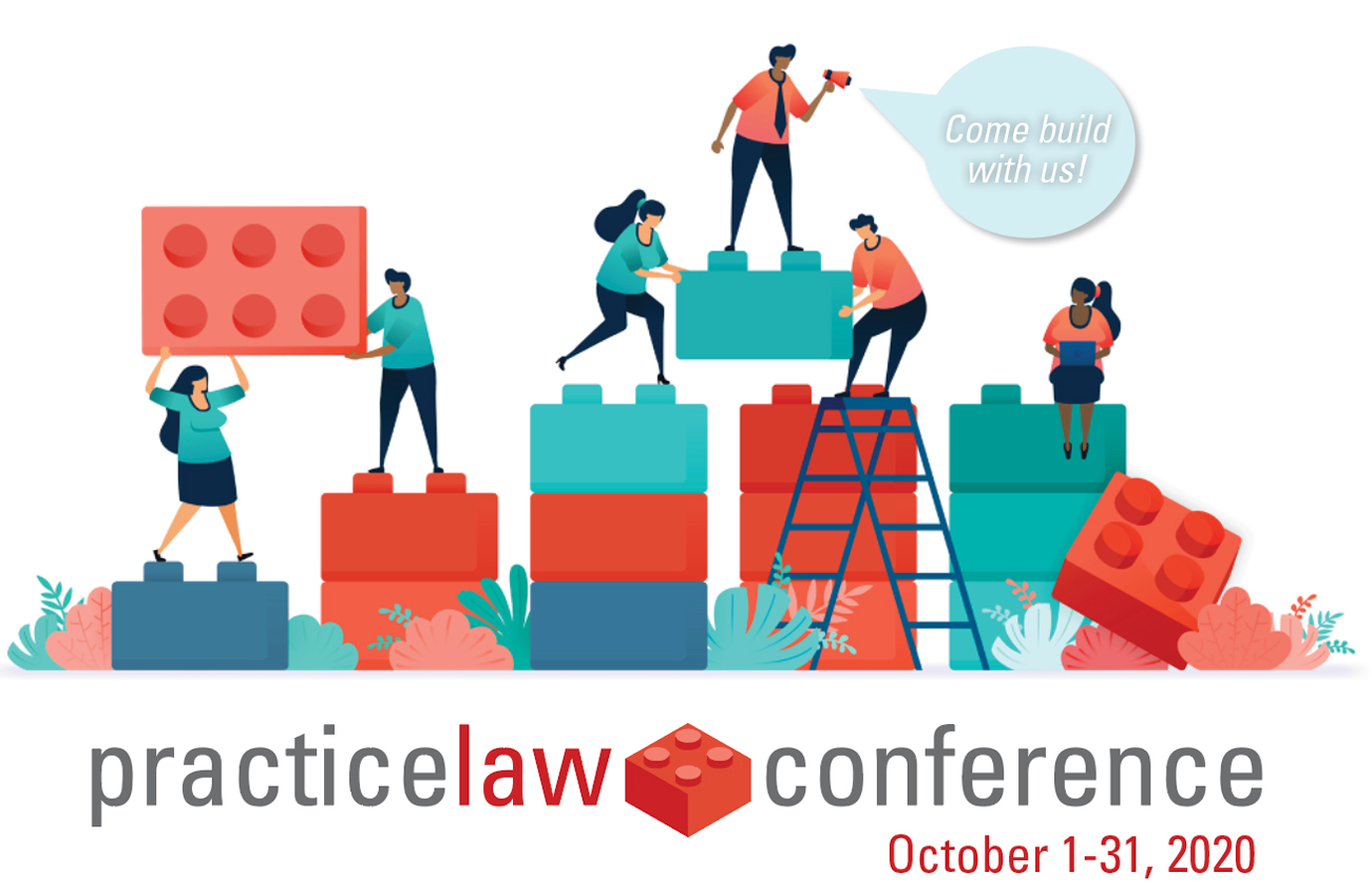 practicelaw conference. October 1 - 31, 2020. A team of individuals are working to build something out of large play blocks.