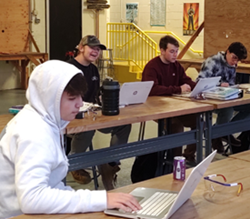 Somerset County Vo-tech High school students using Plumbing 101 online in class